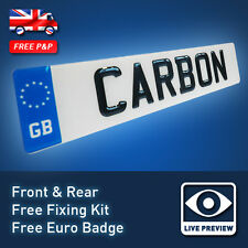PAIR 3D UK FONT Carbon Fibre Effect Resin Domed Gel Raised Car Number Plates 24