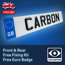 Par 3D Reino Unido fuente semicirculares de resina de fibra de carbono Efecto Gel planteado Matrículas Coche 24
