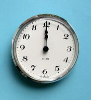 MEGA-QUARTZ German 100mm silver BEZEL QUARTZ CLOCK insert white Arabic dial