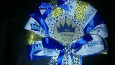 Baby shower Boy Prince Corsage Gold and Blue crown for the prince to be