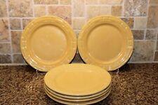 """Six Longaberger Woven Trad Pottery Butternut Yellow 9"""" Luncheon Salad Plates Usa"""