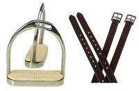 """Adult English Saddle Stirrups 4 3/4"""" Offset Fillis Stirrup Irons Black Leathers"""