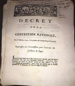 RÉVOLUTION.DOCUMENT SUR L'EXERCICE DES FONCTIONS DE JUGES. AN PREMIER(1792).
