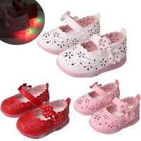 Kids Newborn Baby Girl Lighted Soft Leather Princess Shoes Christening Prewalker