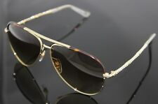 RARE NEW Genuine GUCCI Gold Brown Crystals Aviator Sunglasses GG 4276/N/S J5G CC