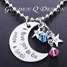 Personalised Family Name Initial Love You To The Moon Star Necklace D138