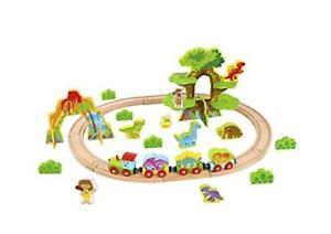 Tooky Toys 40pcs Medium Wooden Dinosaur Train Set