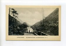Elizabethtown Ny Adirondacks, Little Pond, tiny person, dirt road, antique card