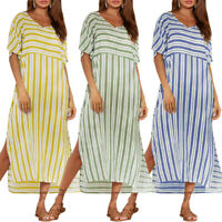 ZANZEA Womens Oversized Striped Short Sleeve Casual Loose Split Shirt Midi Dress
