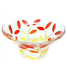 Murano Glass Sweet Candy Dish Bowl Jewellery Tray Circular Red Orange Flower