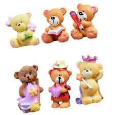 6pcs Miniature Landscape Resin Craft Decoration Animal Statue Teddy Bear