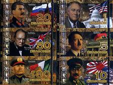 POLYMER SET, El Club De La Moneda, 1;5;10;20;50;100 2015 WWII Leaders