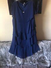 SLNY Sleeveless Ruffle navy Cocktail Dress With Rhinestones size 22W NWT$110