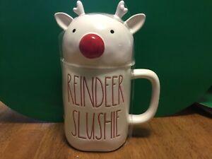 "Rae Dunn Christmas ""REINDEER SLUSHIE"" White Mug W/ Reindeer Topper"