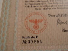 1937 Nazi German Era Prussia State Loan-100 Reichsmark With Swastika Seal