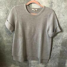 Madewell Medium short cuffed sleeve wool blend gray crew neck sweater