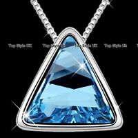 Blue Love Triangle Crystal Silver Necklace Women Gifts for Her Girls Mother B2