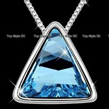 Blue Love Triangle Crystal Silver Necklace Women Gifts for Her Girls Mother B5