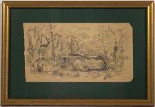 Listed Hudson River School Artist Samuel Colman (1832-1920) Pencil/Ink Painting