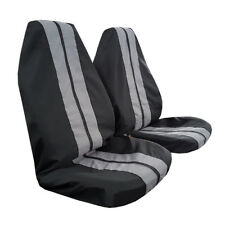 Pair GT Racing Black Grey Throw Over Slip On Car Seat Covers For Honda