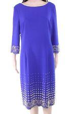 Ignite Womens Shift Dress Cobalt Blue Size 14 3/4 Sleeve Embellished $149 626