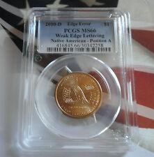 2010-D $1 Weak Edge Lettering Native American - Position A Sacagawea Dollar