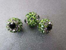 Green Rhinestone Eyes Spacer Beads 3pcs