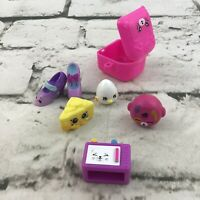 Shopkins Mini Figures Lot Of 6 Pieces Egg Donut Shoes Swiss Cheese Microwave