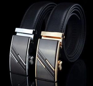 Ledergürtel  Automatik Schnalle Gürtel echt Leder Herren Damen Leather Belt