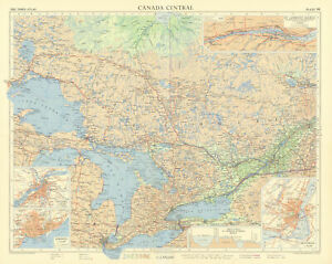 Ontario Canada. Ottawa Toronto. St Lawrence Seaway. Great Lakes. TIMES 1957 map