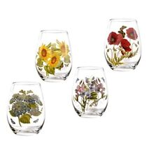 PORTMEIRION Botanic Garden Wine Goblets Stemless SET/4 Glasses Tumblers  floral