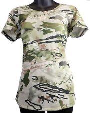 UA Women Threadborne Heatgear Scent Control Barren Camo T-Shirt Under Armour NWT