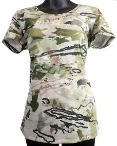Under Armour Women Threadborne Heatgear Wicking Barren Camo T-Shirt Top NWT UA