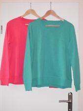 """Damen 2 Sweatshirts """"TCM"""" woman 100% BW Gr.40/42 in knalligem Grün u. Rot """"NEU"""""""