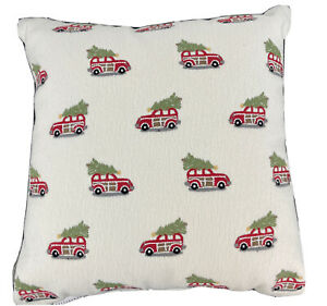 """Pottery Barn Decorative Pillow Mini Woody 16"""" Christmas Tree Off-White Red NWT"""