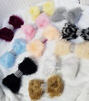 Fur Bow with Diamante Effect for Hood Fur Trim Accessories Pram Buggy Blue