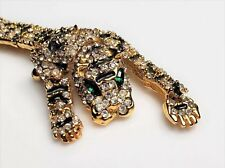 """Vtg Tiger cat Brooch Pin HUGE 7.5""""  pin Rhinestone articulated Statement gold"""