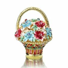 Handmade Crystal Metal Basket Trinket Boxes Figurines Jewelry Wedding Decor Gift