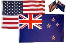 Wholesale Combo USA & New Zealand Country 2x3 2'x3' Flag & Lapel Pin