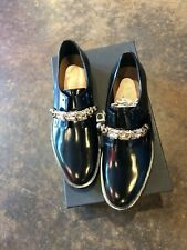 Coliac Anello crystal broach black leather shoes 37