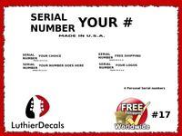 Serial number kit Guitar Headstock Decal Restoration Waterslide Logo 17