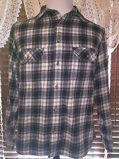 Mens VGUC FIELD & STREAM LS L Large Blue/Tan Plaid Twin Pocket Flannel Shirt
