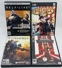 HALF-LIFE 2, BIOSHOCK INFINITE, TITANFALL & UNREAL TOURN 3 Lot of 4 Games for PC