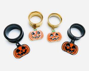 Halloween Orange Pumpkin Black Gold Screw-Fit Dangle Tunnel Ear Plug 6mm - 25mm