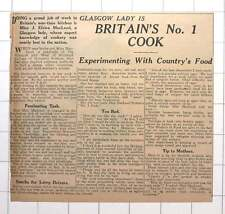 1942 Miss J Elvira Macleod Glasgow Britain's Number One Cook