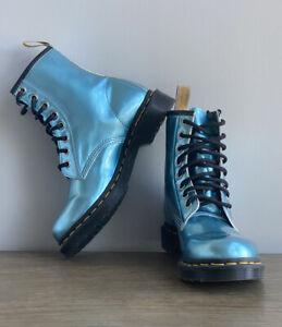 Dr. Martens 1460 Vegan Blue Women's Size 6 Metallic Goldmix Combat Boots Retired