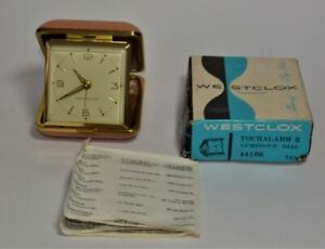 Westclox Touralarm 2 winding Folding Travel Alarm Clock 44106 Tan luminous w box
