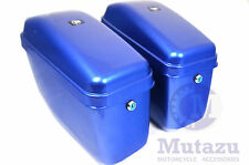 Mutazu GA Cobalt Blue Universal Motorcycle Hard Saddlebags Includes Mounting Kit