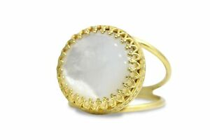 Round Mother of Pearl Ring in 14k Gold Over Silver Band June Birthstone Jewelry