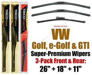 Wiper Blades 3pk Front Rear fit 2015+ Volkswagen Golf e-Golf GTI 25260/180/11H
